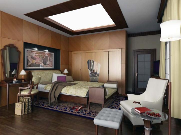 Desain Interior Kamar Tidur Bentuk L