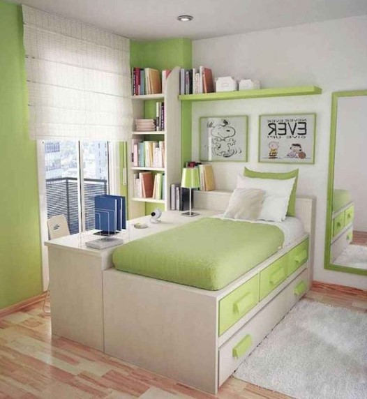 Desain Kamar Tidur Minimalis Warna Hijau