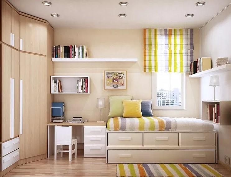 Desain Kamar Tidur Ukuran 3x3 dengan Furniture Multifungsi