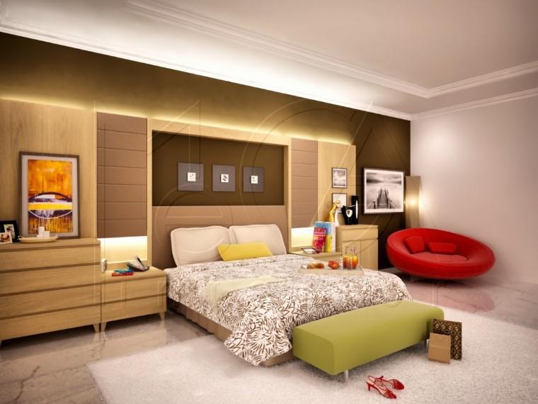 Desain Kamar Tidur Utama dengan Dekorasi Foto Keluarga