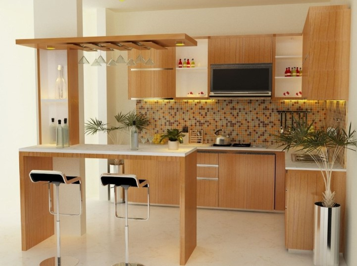 Desain Kitchen Set Dengan Mini Bar