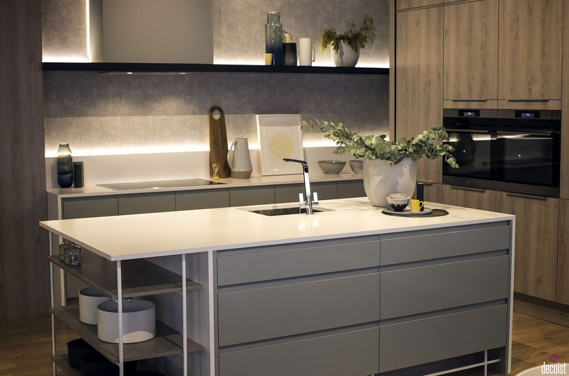 Desain Kitchen Set Minimalis Warna Abu Abu