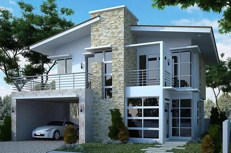 Desain Rumah Minimalis 2 Lantai 6x12 dengan Menggunakan Tekstur Unik Modern