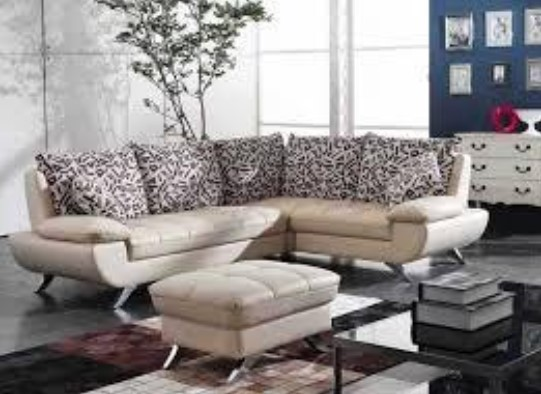Sofa Tamu Minimalis Motif Polos + Bantal Motif