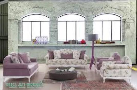 Sofa Tamu Minimalis Perpaduan Motif Bunga dan Polos