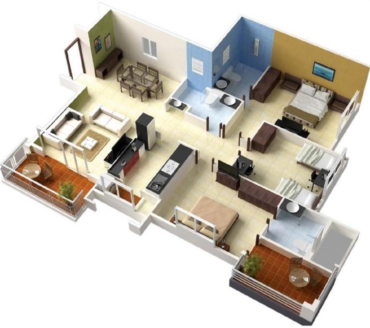 Denah Rumah 1 Lantai 3 Kamar Tidur