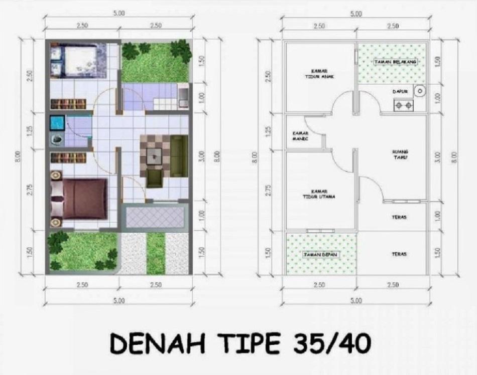 Denah Rumah Minimalis 2 Kamar Type 36