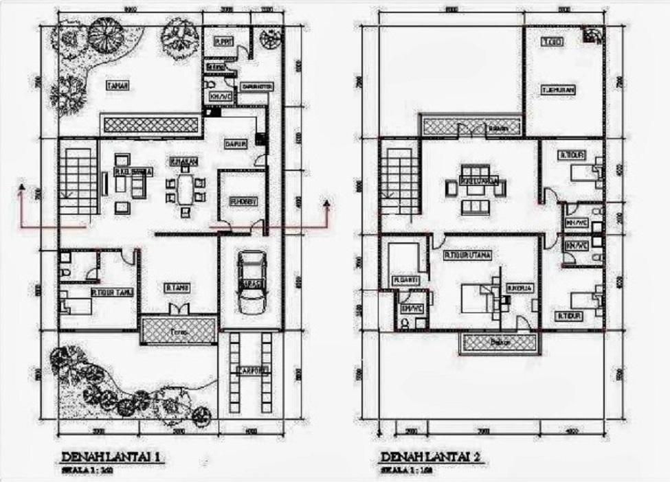 Denah Rumah Minimalis 2 Lantai Ukuran 6×10