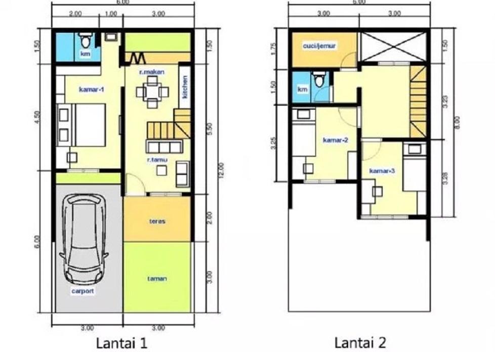 Desain Rumah Minimalis Ukuran 7x12 Meter  a 60 gambar denah rumah minimalis modern trend 2020