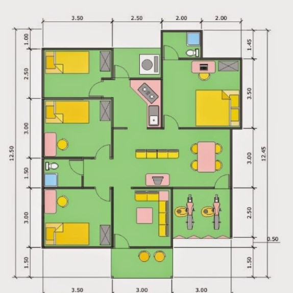 Denah Rumah Minimalis 3 Kamar Satu Lantai