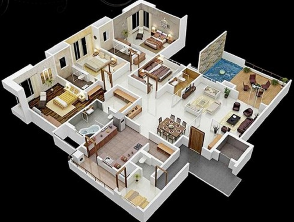 Denah Rumah Minimalis 4 Kamar Tidur