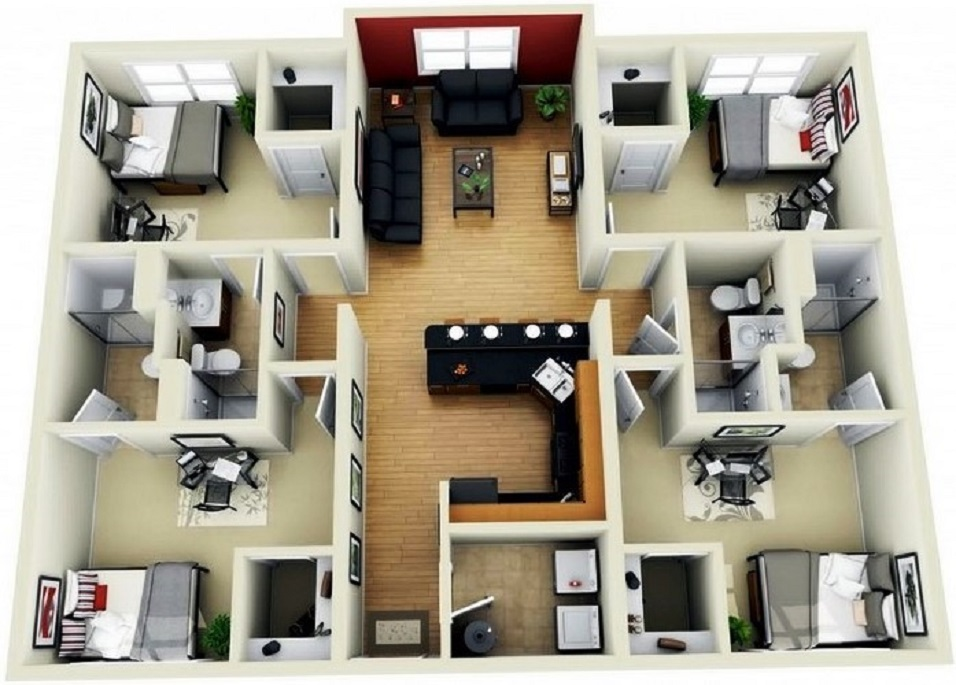 Contoh Denah Rumah Persegi Panjang a 60 denah rumah minimalis modern sederhana terbaik 2020