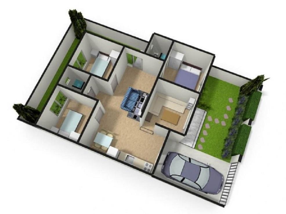 Denah Rumah Minimalis 6x10 3 Kamar