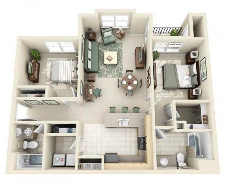 Denah Rumah Minimalis 6x12 Meter