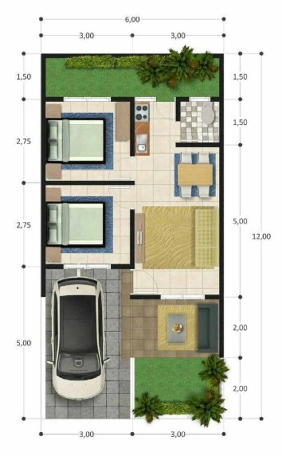 Denah Rumah Minimalis 7x10