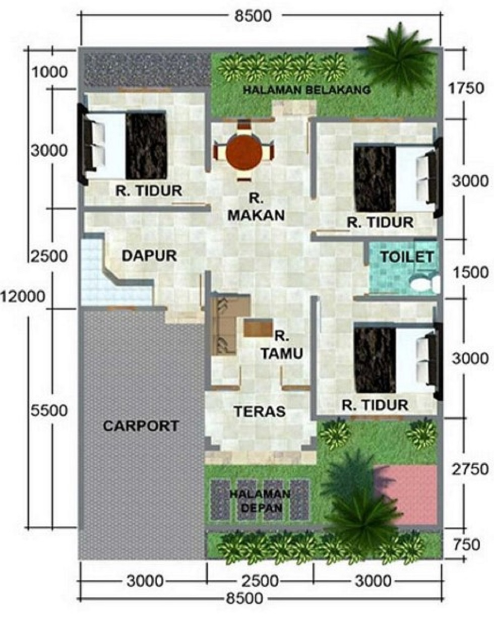 Denah Rumah Minimalis 8x12