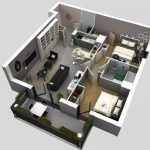 Denah Rumah Minimalis Modern 2 Kamar Tidur