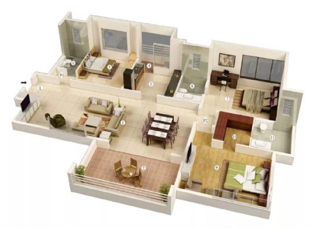 Denah Rumah Minimalis Modern 3 Kamar Tidur