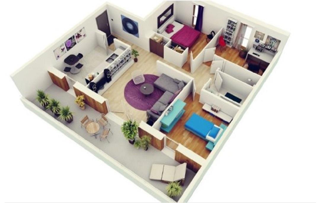 Denah Rumah Minimalis Modern dengan Taman Belakang