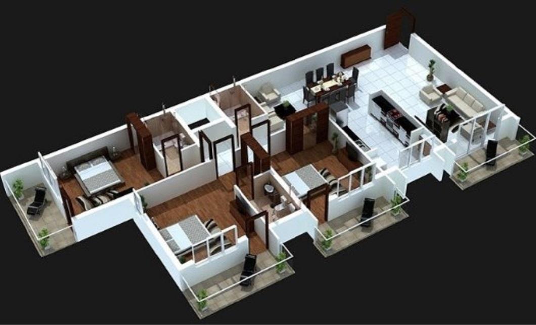 Denah Rumah Minimalis Modern dengan Teras Kecil