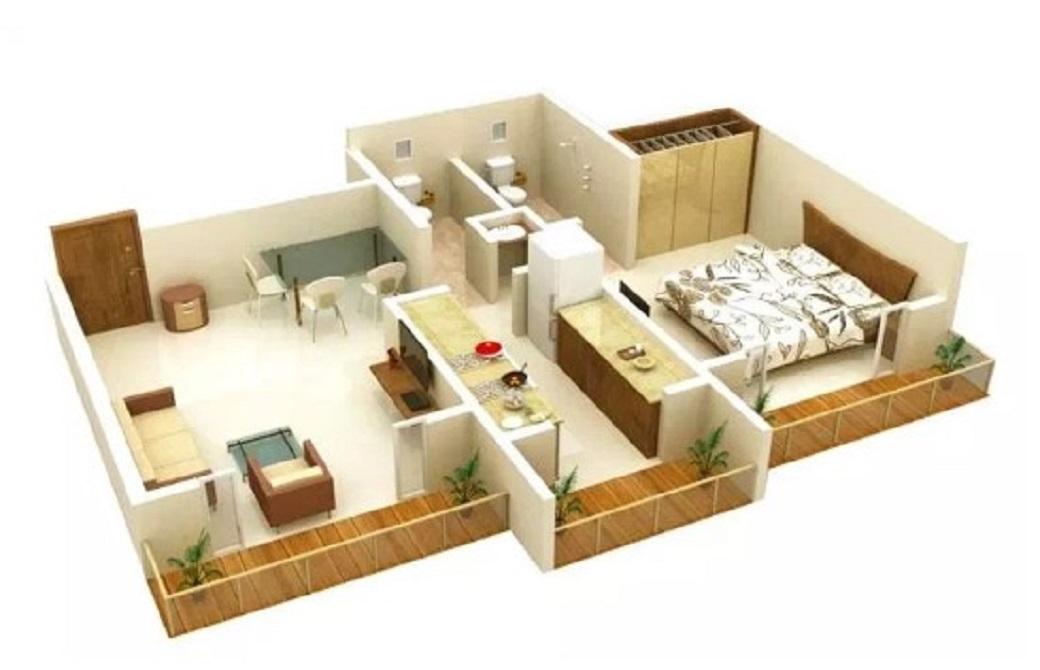 Denah Rumah Minimalis Sederhana 1 Kamar Tidur