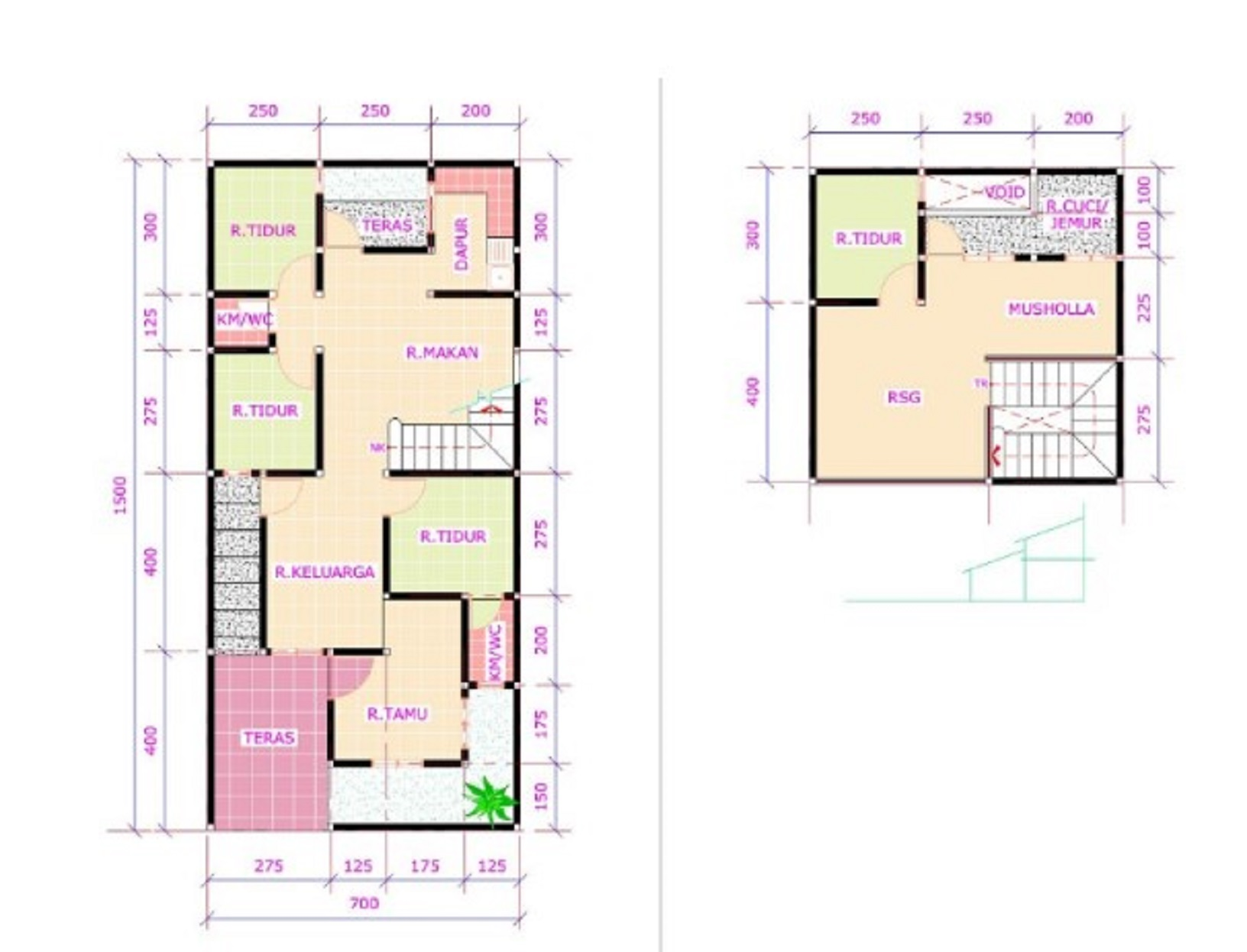 Denah Rumah Minimalis Sederhana 2 Lantai