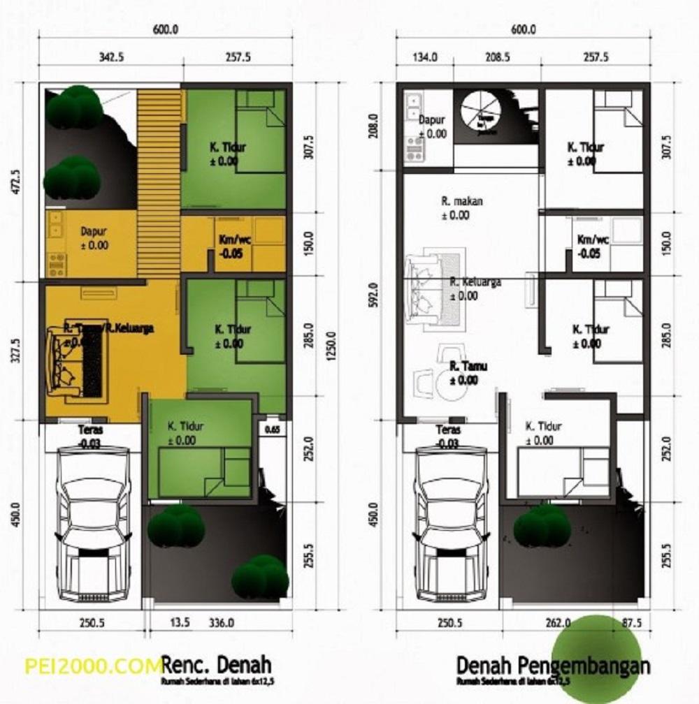 Denah Rumah Minimalis Sederhana 7x12