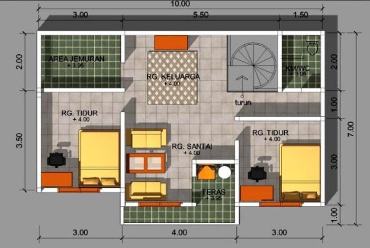 Denah Rumah Minimalis Sederhana Berukuran Mungil