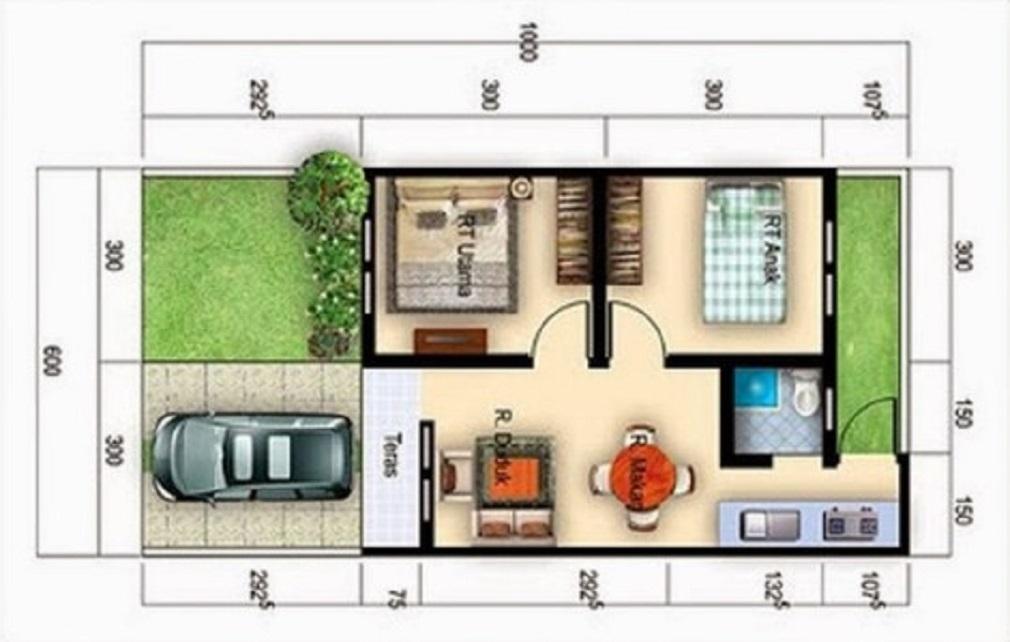 Denah Rumah Minimalis Sederhana Konsep Terbuka