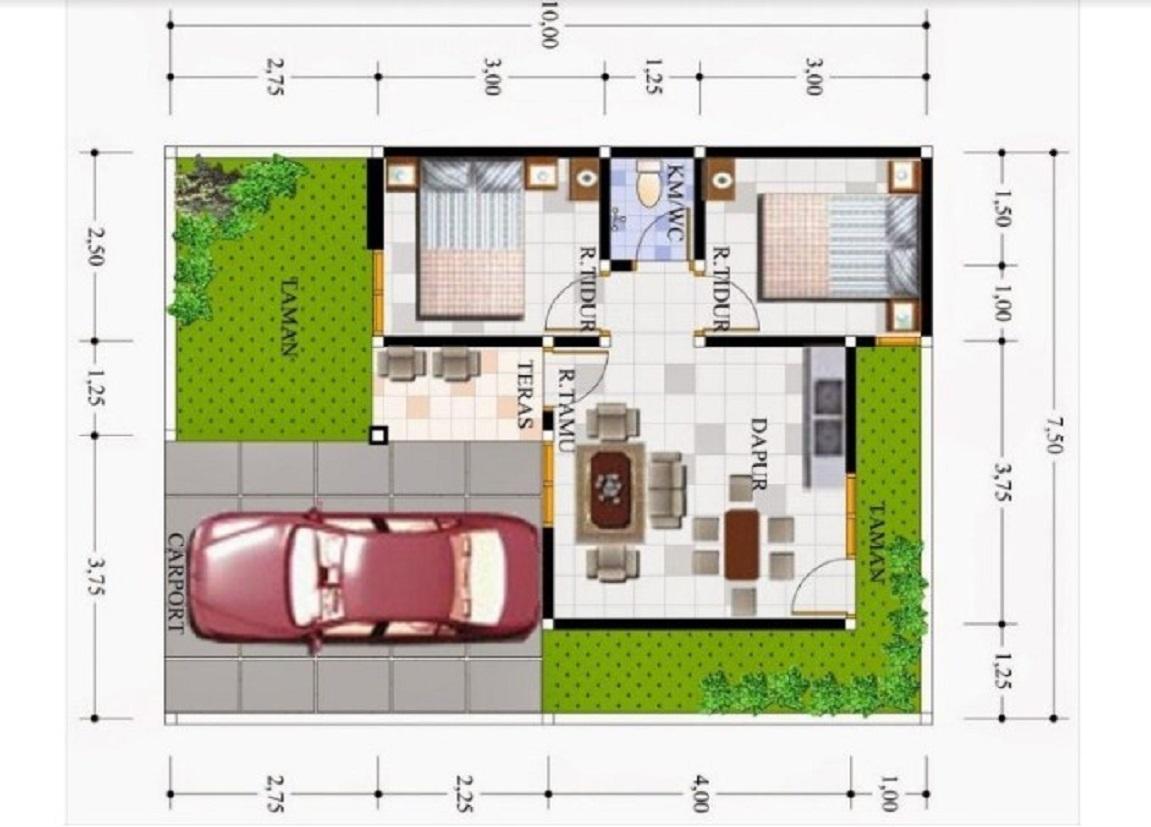 Denah Rumah Minimalis Type 36 dengan Taman