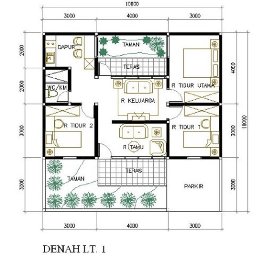 Denah Rumah Minimalis Ukuran 6x8