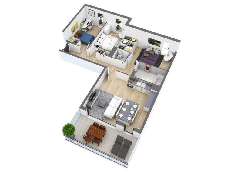 Denah Rumah Satu Lantai 3 Kamar Tidur