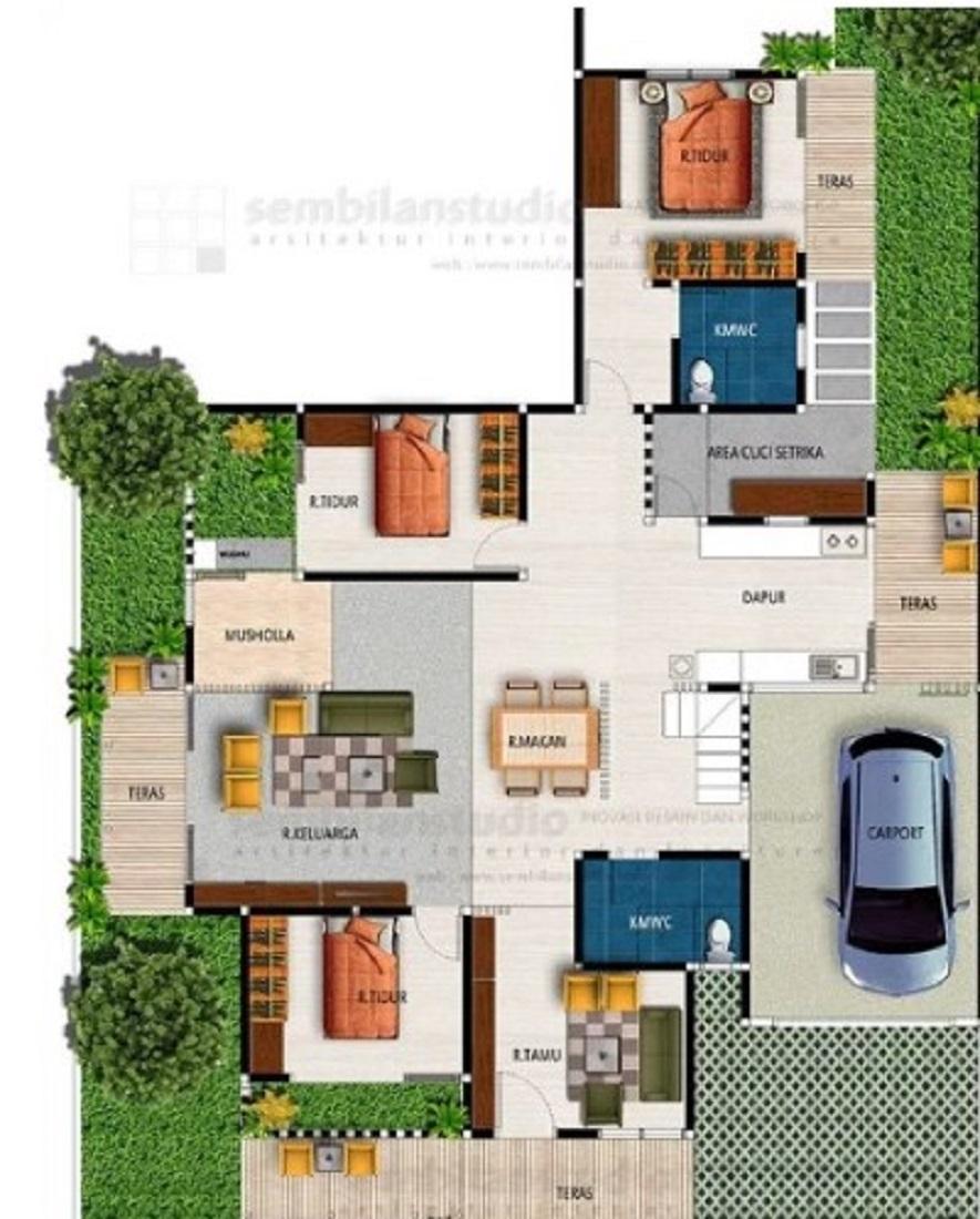 Desain Rumah Minimalis 3 Kamar Tidur 1 Mushola