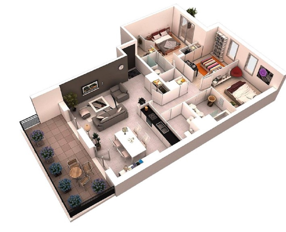 Desain Rumah Minimalis 3 Kamar Tidur 3D