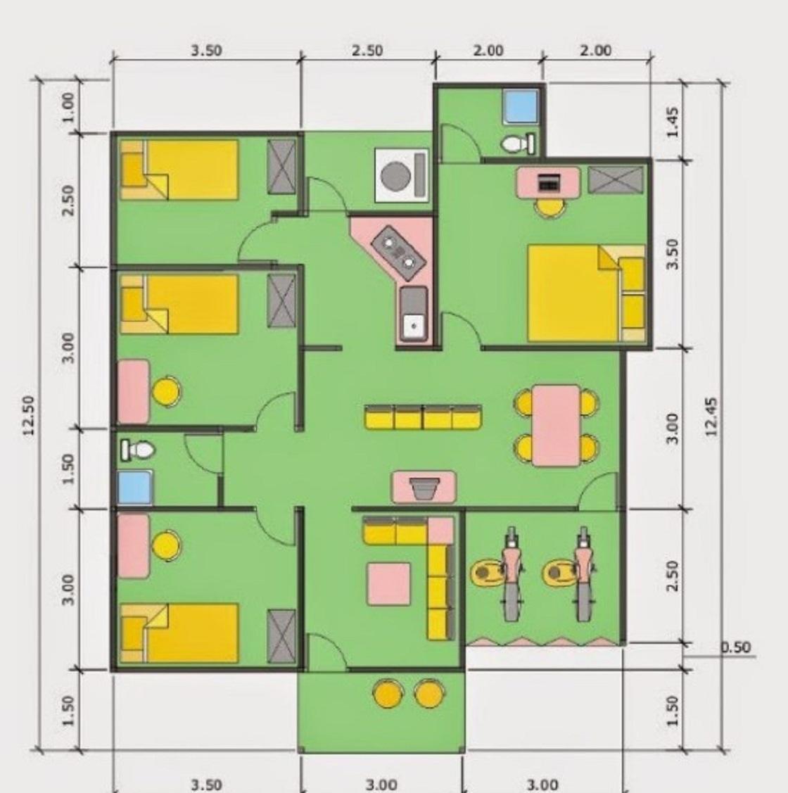 65 Denah Dan Desain Rumah Minimalis 3 Kamar Terbaru 2019