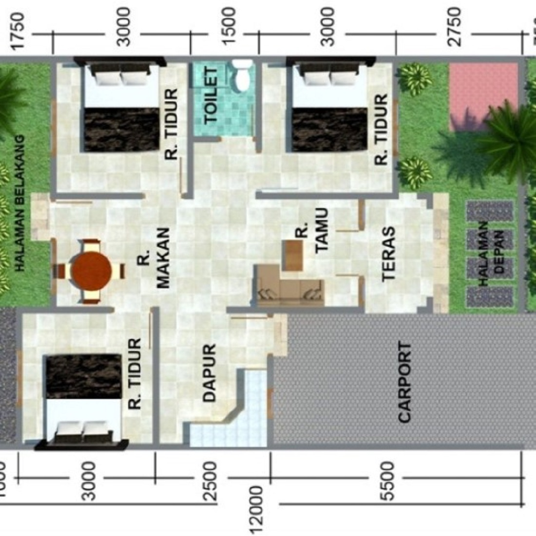 Gambar Rumah Minimalis 3 Kamar Tidur 1 Lantai