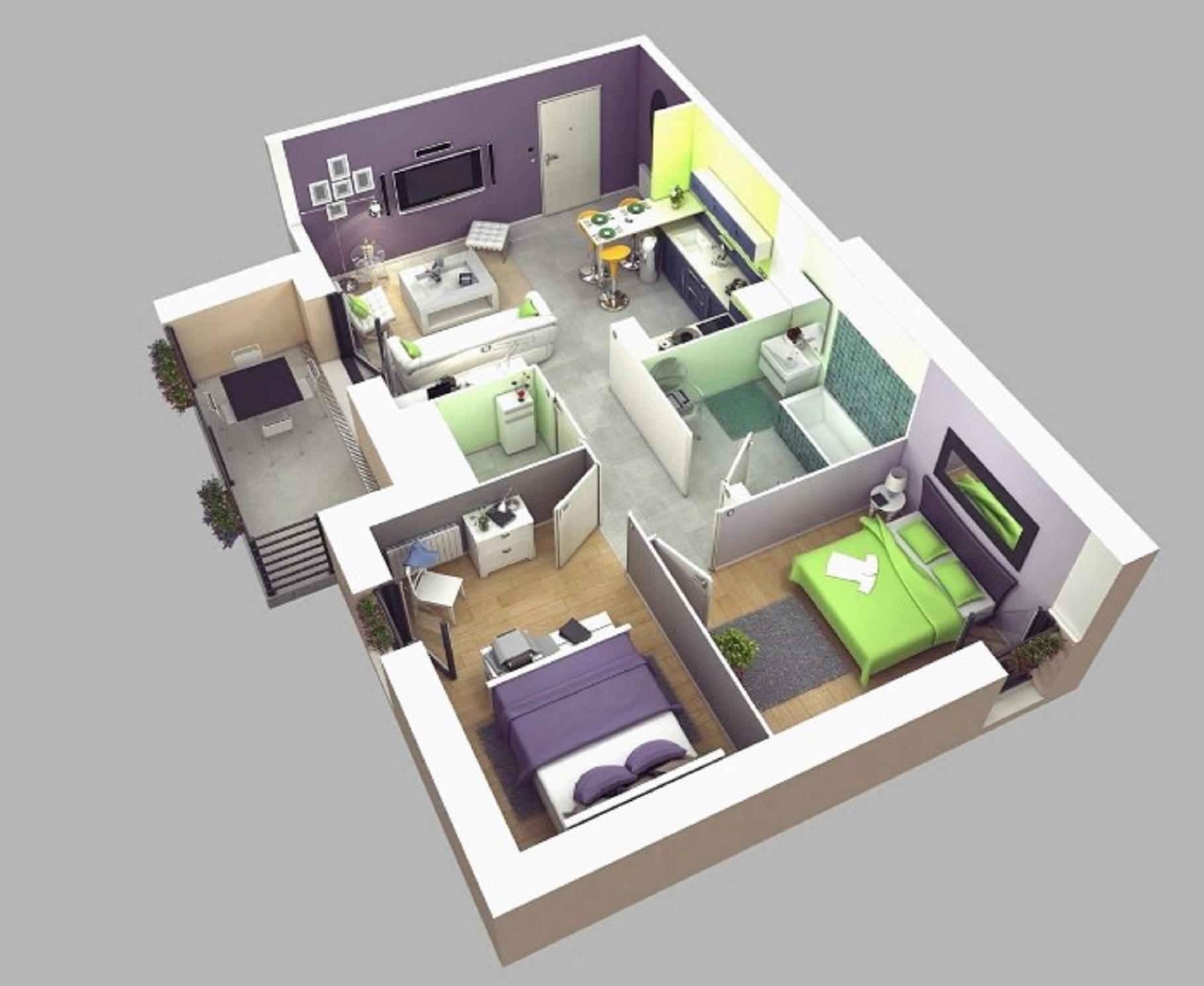 Rumah Minimalis Sederhana 1 Lantai 2 Kamar