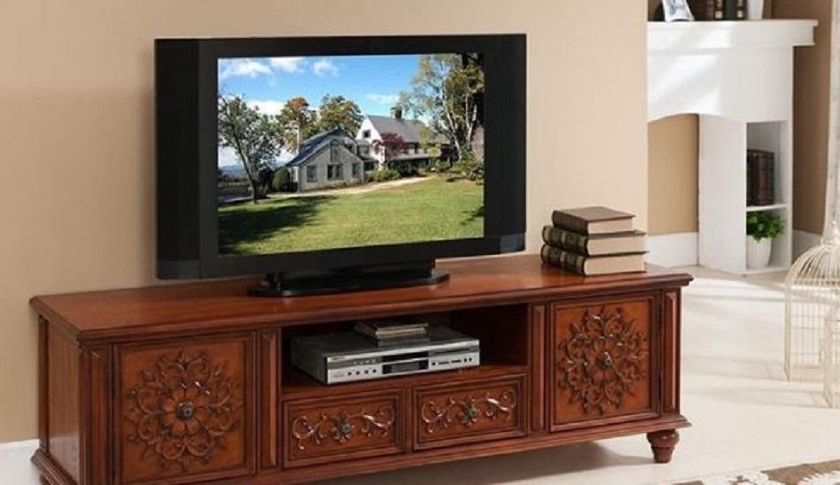 Bufet Meja TV Kayu Jati Ukir