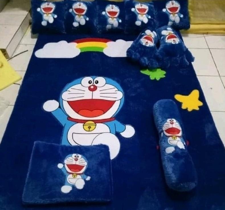 Karpet Bulu Rasfur Murah 7 cm Ukuran 150 x 200 Motif Doraemon Stand By Me