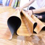 Karpet vinyl motif kayu coklat glossy