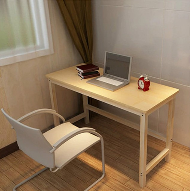 Meja Komputer Kayu Solid Sederhana