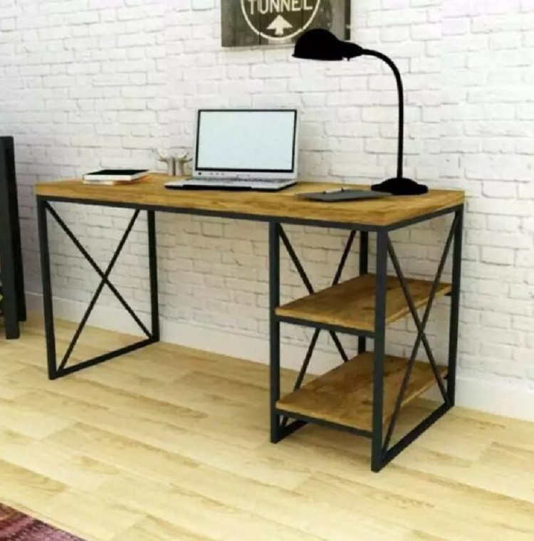 Meja Komputer Minimalis Bahan Besi dan Jati Belanda