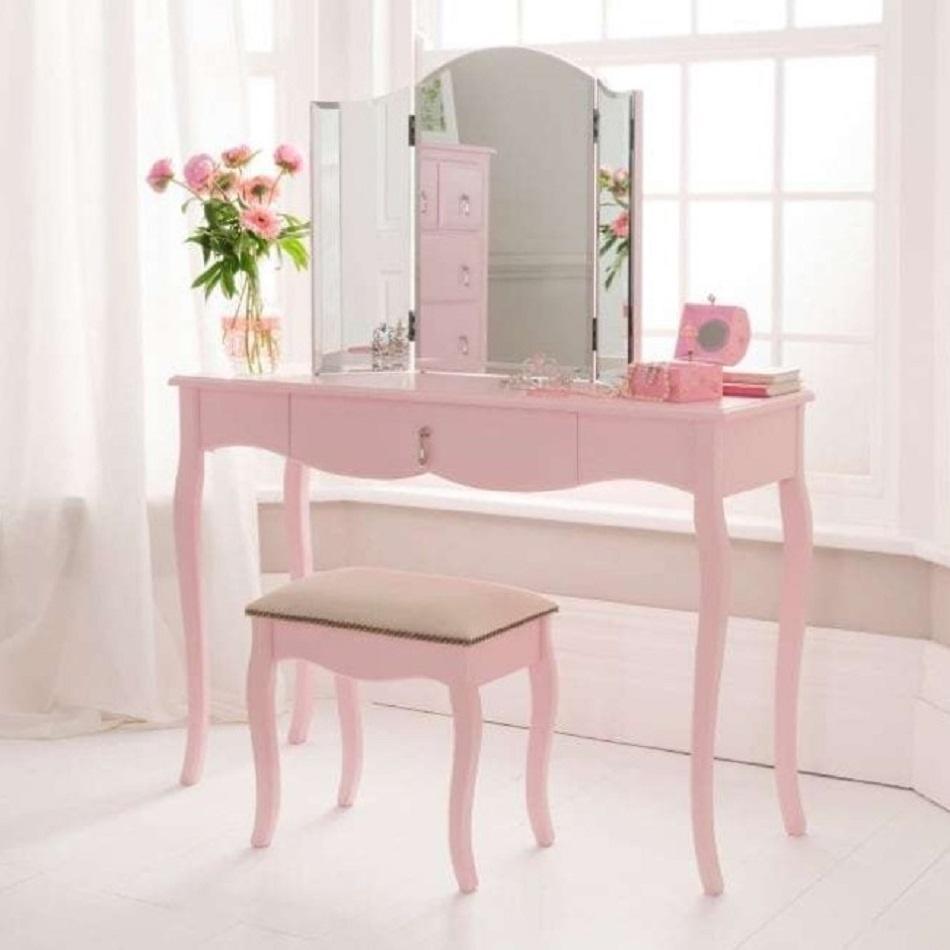 Meja Rias Alumunium Modern Alexander Warna Pink