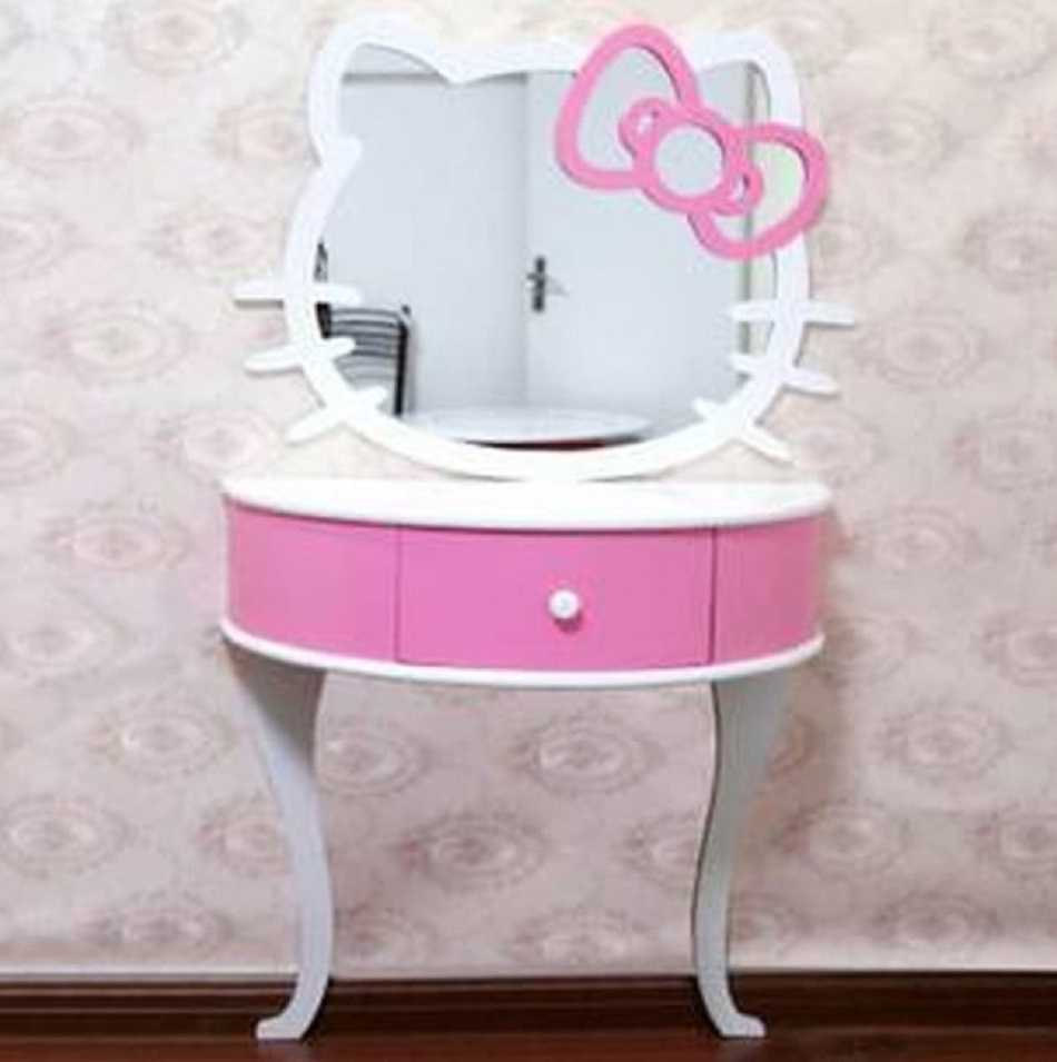 Meja Rias Hello Kitty 2 Kaki Desain Melengkung