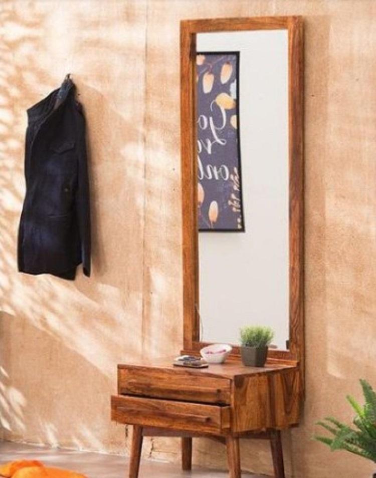 Meja Rias Jati Minimalis Modern dengan Cermin Tinggi