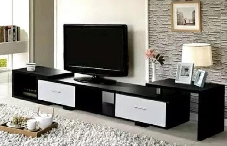 Meja TV Kayu Minimalis Warna Hitam Elegan