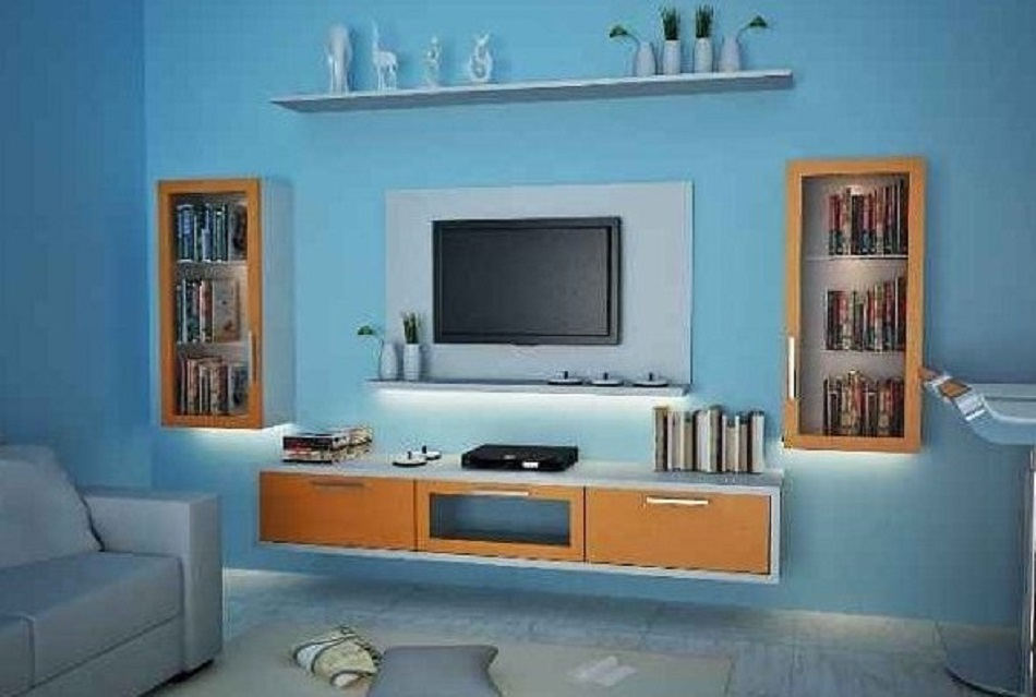 Rak TV Dinding Kayu Minimalis yang Elegan