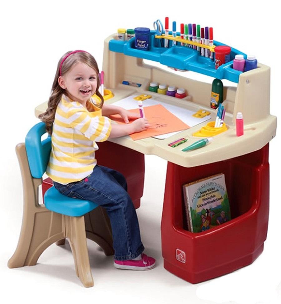 Set Furniture Meja Belajar dan Kursi Bahan Plastik