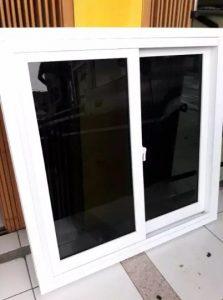 Jendela geser aluminium kusen rel frame komplit 120cm x 100cm