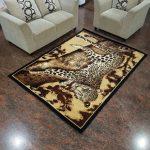 Karpet Lantai Minimalis Modern Coklat Krem Macan Africa 160 X 210 Cm